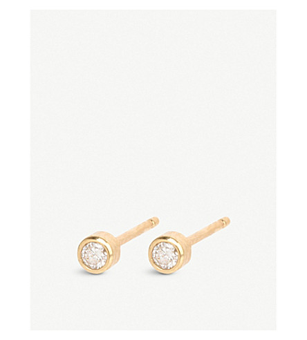 THE ALKEMISTRY Zoë Chicco 14ct yellow-gold and diamond stud earrings (Yellow+gold
