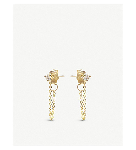 THE ALKEMISTRY Zoë Chicco 14ct yellow-gold and diamond chain earrings (Yellow+gold