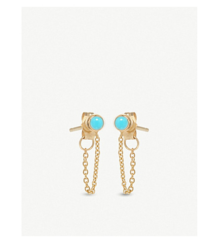 THE ALKEMISTRY Zoë Chicco 14ct yellow-gold and turquoise chain earrings (Yellow+gold