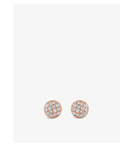THE ALKEMISTRY Dana Rebecca Lauren Joy mini 14ct rose-gold and diamond earrings (Rose+gold