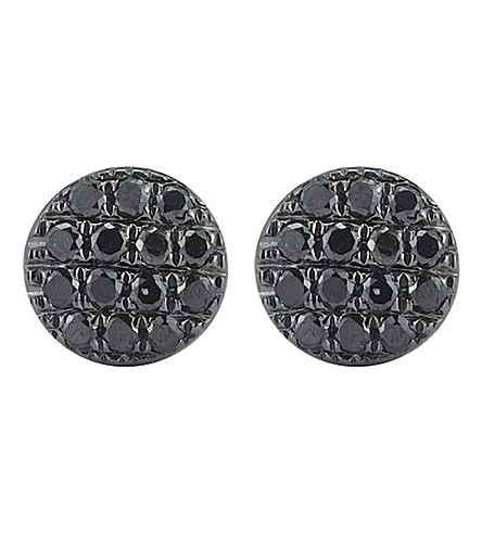 THE ALKEMISTRY Dana Rebecca Lauren Joy mini 14ct black rhodium and black diamond earrings (White+gold
