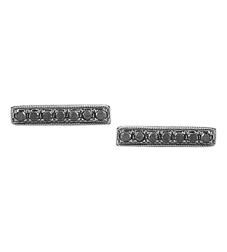 THE ALKEMISTRY 14ct black-gold and diamond bar earrings (White+gold