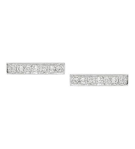 THE ALKEMISTRY Dana Rebecca 14ct white-gold and diamond bar earrings (White+gold