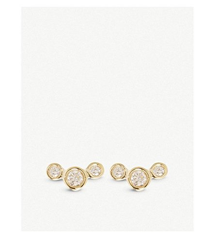 THE ALKEMISTRY Zoë Chicco Graduated 14ct yellow-gold and diamond earrings (Yellow+gold