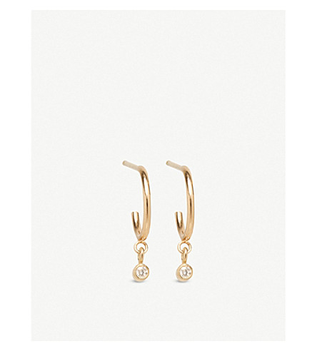 THE ALKEMISTRY Zoë Chicco 14ct yellow-gold and diamond huggie hoop earrings (Yellow+gold