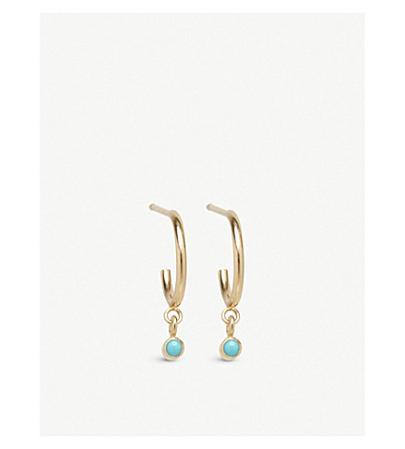 THE ALKEMISTRY Zoë Chicco 14ct yellow-gold and turquoise huggie hoop earrings (Yellow+gold
