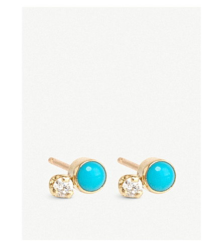THE ALKEMISTRY Zoë Chicco 14ct yellow-gold, diamond and turquoise earrings (Yellow+gold