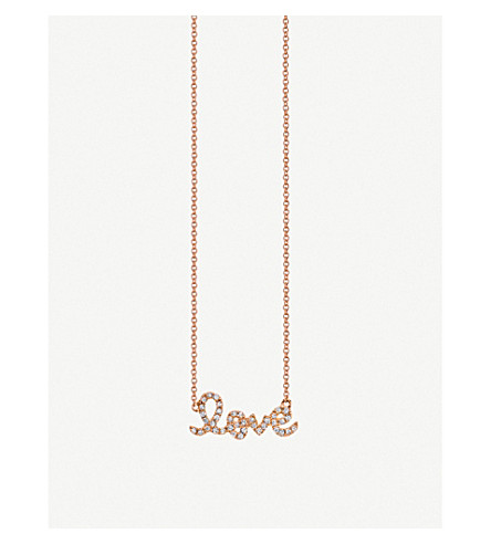 THE ALKEMISTRY Sydney Evan Love 14ct rose gold and crystal necklace (Rose+gold