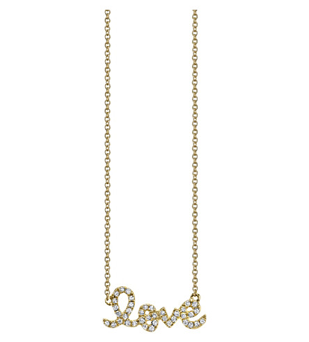 THE ALKEMISTRY Sydney Evan Love script 14ct yellow gold and diamond necklace (Yellow+gold