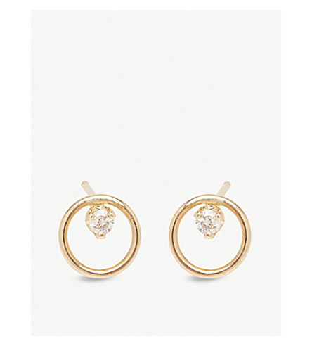 THE ALKEMISTRY Zoë Chicco 14ct yellow-gold and diamond small circle earrings (Yellow+gold
