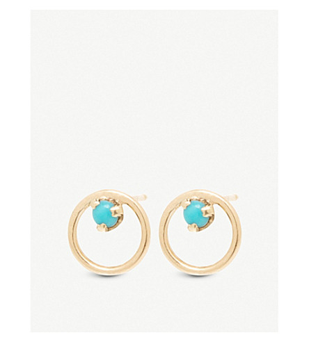 THE ALKEMISTRY Zoë Chicco 14ct yellow-gold and turquoise circle stud earrings (Yellow+gold