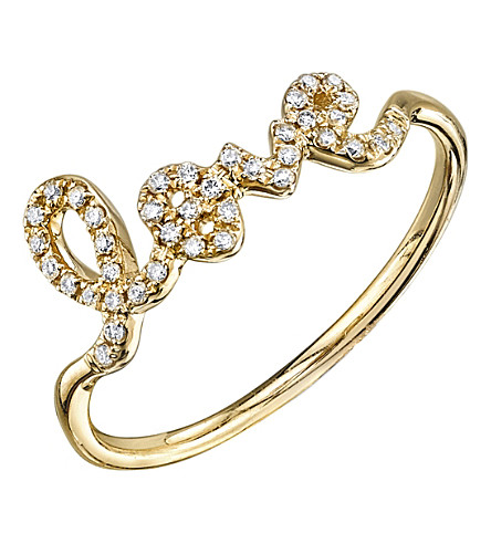 THE ALKEMISTRY Sydney Evan Love script 14ct yellow gold and diamond ring (Yellow+gold