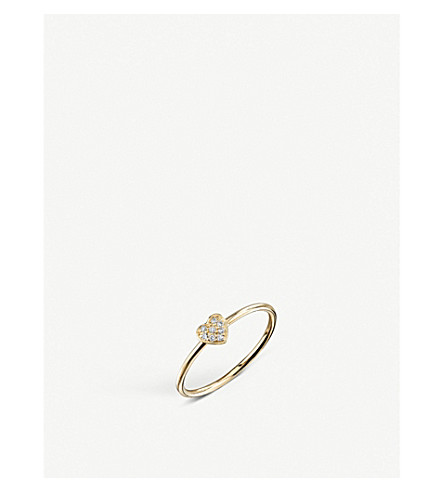 THE ALKEMISTRY Sydney Evan Heart 14ct yellow-gold and diamond ring (Yellow+gold