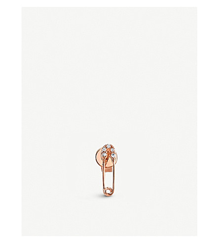 THE ALKEMISTRY Sydney Evan safety pin 14ct rose-gold and diamond earring (Rose+gold