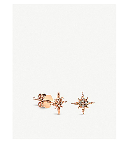 THE ALKEMISTRY Sydney Evan Starburst 14ct rose-gold and diamond earring (Yellow+gold