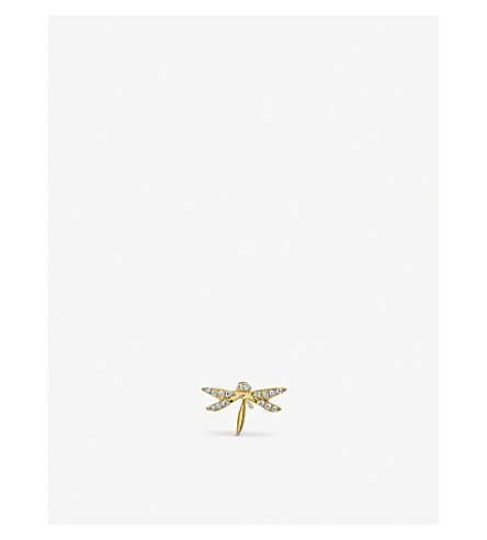 THE ALKEMISTRY Syndey Evan dragonfly 14ct yellow-gold and diamond earrings (Yellow+gold
