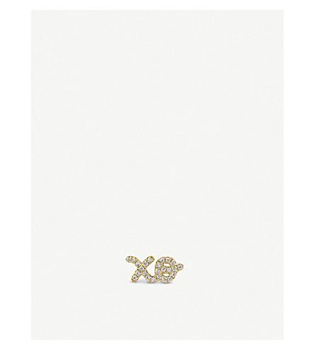 THE ALKEMISTRY Sydney Evan xo script 14ct yellow-gold and diamond earring (Yellow+gold