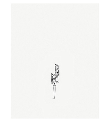 THE ALKEMISTRY Sydney Evan Lightning bolt 14ct white-gold and diamond single stud earring (White+gold
