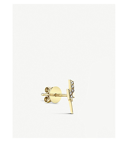 THE ALKEMISTRY Sydney Evan Lightning bolt 14ct yellow-gold and diamond stud earring (Yellow+gold