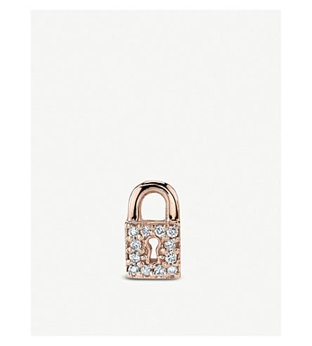 THE ALKEMISTRY Sydney Evan Lock 14ct rose-gold and diamond single stud earring (Rose+gold