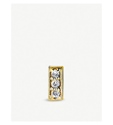 THE ALKEMISTRY Sydney Evan Bar 14ct yellow-gold and diamond single stud earring (Yellow+gold