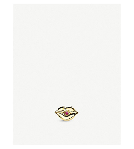 THE ALKEMISTRY Sydney Evan Pure Lips 14ct yellow-gold stud earring (Yellow+gold