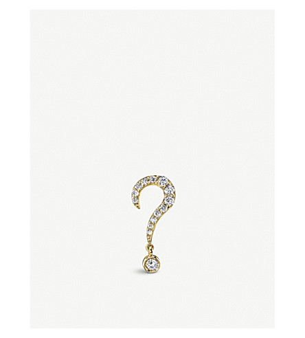 THE ALKEMISTRY Sydney Evan Question Mark 14ct yellow-gold and diamond single stud earring (Yellow+gold