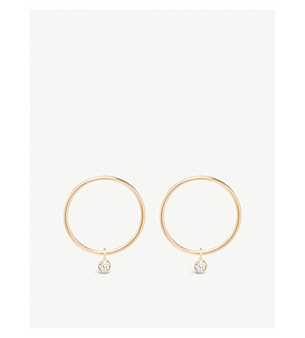 THE ALKEMISTRY Zoë Chicco 14ct yellow-gold and diamond circle hoop earrings (Yellow+gold