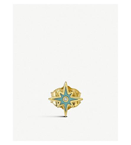 THE ALKEMISTRY Sydney Evan Mini Starburst 14ct yellow-gold enamel earring (Yellow+gold