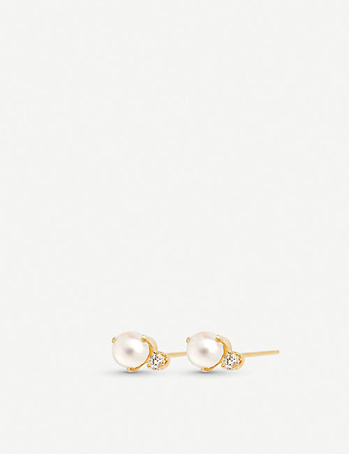 THE ALKEMISTRY Zo? Chicco 14ct yellow-gold pearl and diamond earrings