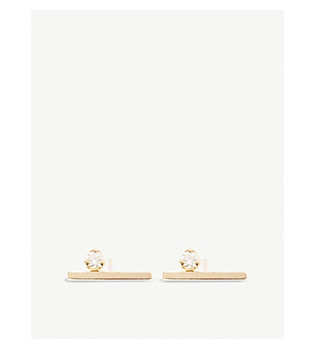 THE ALKEMISTRY Zoë Chicco 14ct yellow-gold and diamond floating bar earrings (Yellow+gold