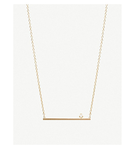 THE ALKEMISTRY Zoë Chicco 14ct yellow-gold and diamond floating bar necklace (Yellow+gold