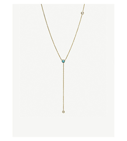 THE ALKEMISTRY Zoë Chicco 14ct yellow-gold, diamond and turquoise lariat necklace (Yellow+gold