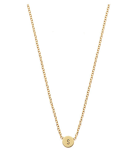 LITTLESMITH Gold-plated circle bead inital necklace