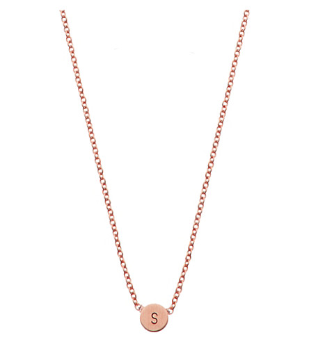 LITTLESMITH Rose gold-plated circle bead initial necklace