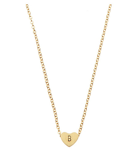 LITTLESMITH Gold-plated heart bead initial necklace