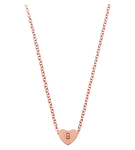 LITTLESMITH Rose gold-plated heart bead initial necklace