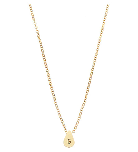 LITTLESMITH Gold-plated teardrop bead inital necklace
