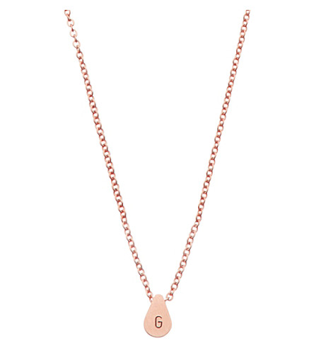 LITTLESMITH Rose gold-plated teardrop bead initial necklace