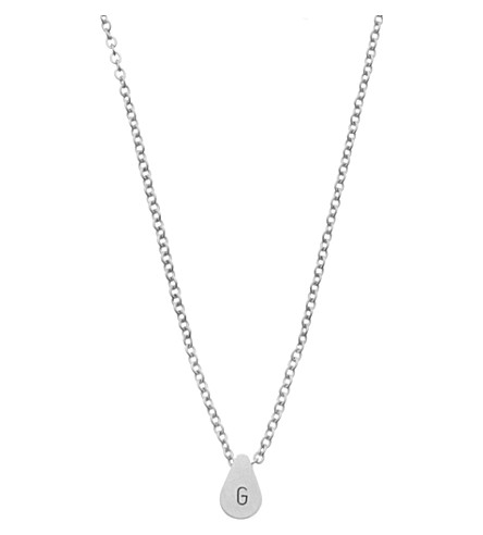 LITTLESMITH Silver-plated teardrop bead initial necklace
