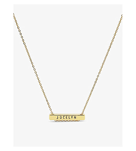 LITTLESMITH 9 characters gold-plated bar necklace