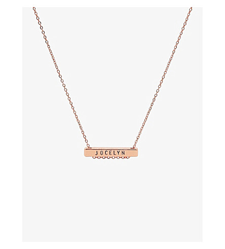 LITTLESMITH 9 characters rose gold-plated bar necklace