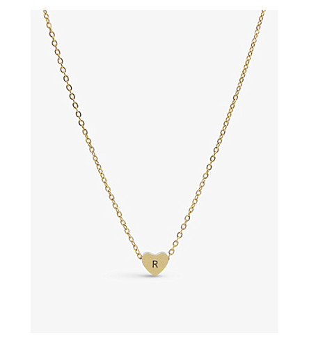 LITTLESMITH Initial silver-plated heart bead necklace
