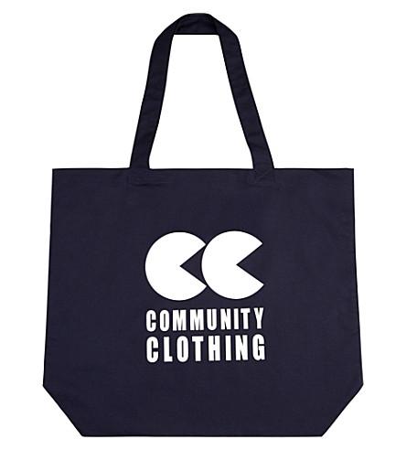 COMMUNITY CLOTHING 标志棉质托特包 (海军