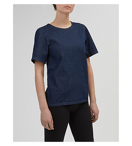 COMMUNITY CLOTHING Boxy denim smock top (Indigo