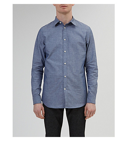 COMMUNITY CLOTHING Tailored-fit cotton-chambray shirt (Blue chambray