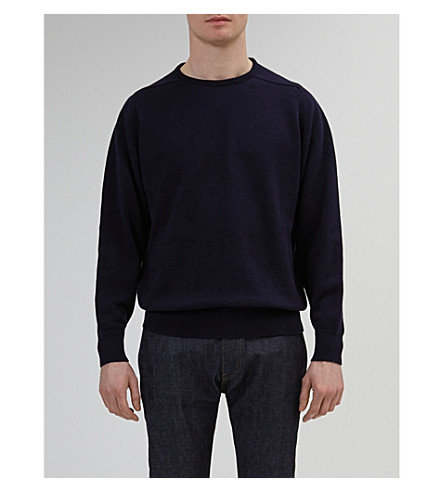 COMMUNITY CLOTHING Crewneck lambswool jumper (Navy