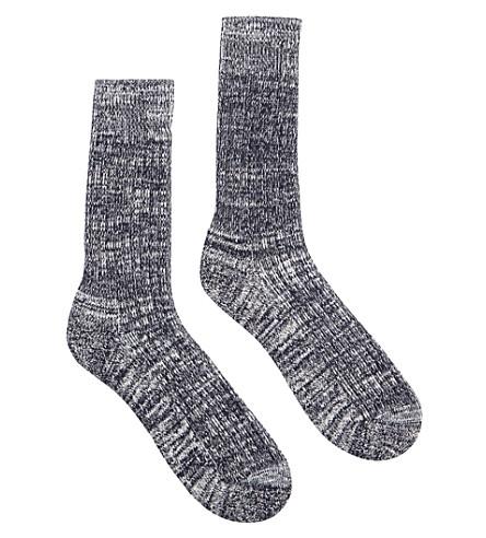 COMMUNITY CLOTHING Marl-pattern cotton-blend socks (Navy