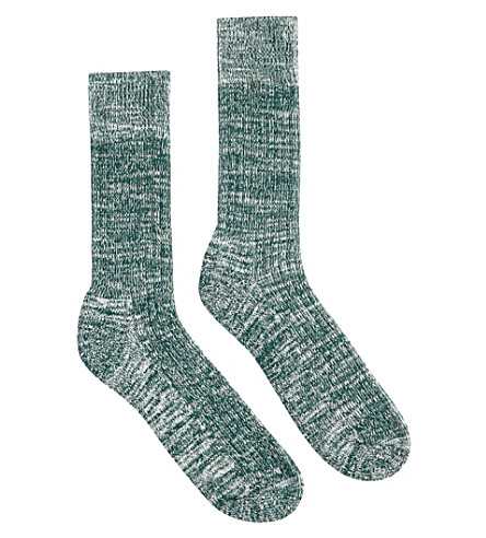 COMMUNITY CLOTHING Marl-pattern cotton-blend socks (Seaweed