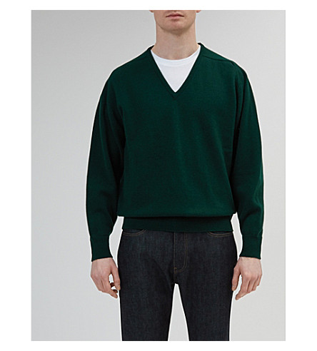COMMUNITY CLOTHING V-neck lambswool jumper (Green